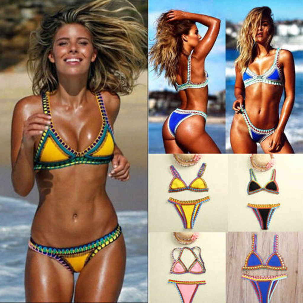 Sexy 2019 Bikini Women Swimwear Female Swimsuit Two-pieces Bikini set Bandeau Bather Adjustable Straps Bathing Suit Swim