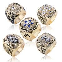 5pcs Set Gold Color Titanium Steel Dallas Cowboys Championship Rings Men Top Jewelry NFL Super Rings