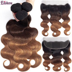Elisheva Ombre Bundles with Frontal 1B/4/30 Blonde Colored Body Wave Remy Brazillan Human Hair curly 3 Bundles with Closure(China)