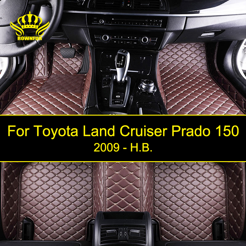 Custom Car Floor Mats For Toyota Land Cruiser Prado 150 Fit Most Cars Leather Carpet Mats Protect Interior Four Seasons Car Mats