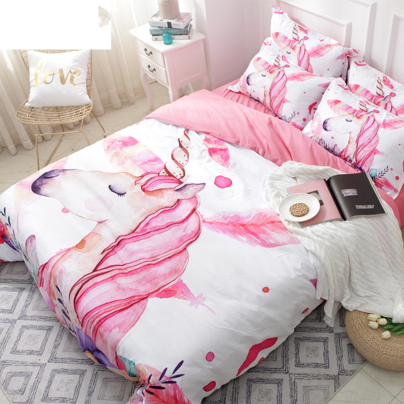 3D Unicorn Bedding Set Pink and white twin king Duvet Cover Set Floral 3 4Piece Bedspreads