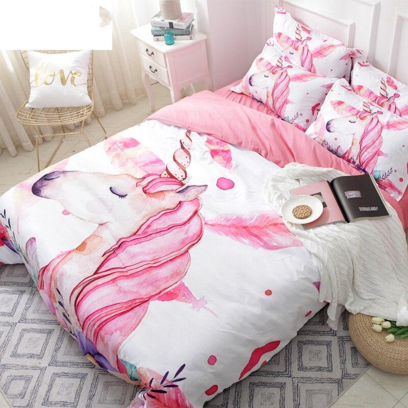Aliexpress Com Buy 3d Unicorn Bedding Set Pink And White