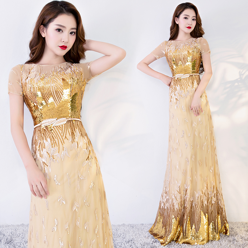 Sexy Mermaid Evening Dresses Long Short Sleeves Sequins Prom Gown Golden Formal Dress Women Occasion Party Dresses Abendkleid