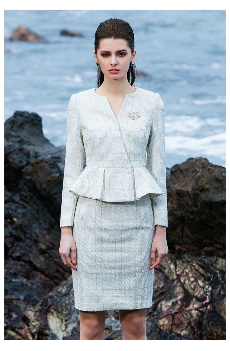 Women Skirt Suits Elegant OL Office Lady Luxury Ruffle Blazer Long Sleeve Pencil Skirt Bodycon Formal Work 2 Piece Set Female