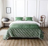 Green Yellow Blue Pink Luxury High Velvet Cotton Summer Quilt Thick Sofa Blanket Soft Bedspread Bed sheet Bed Linen Pillowcases