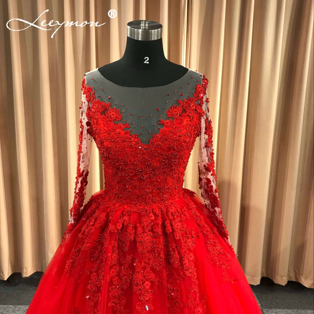 88547dfca270 Real Blonde Röd Bröllopsklänning Nya Blomman Ansökningar Beading ...