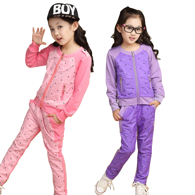 Children's clothes girls spring suits new child splicing coat + pants  Big girls autumn sports leisure blue sets kids clothes 2014 spring autumn new fashion girls sports suits zipper coat trousers flowers print big girl clothes sets children sportswear