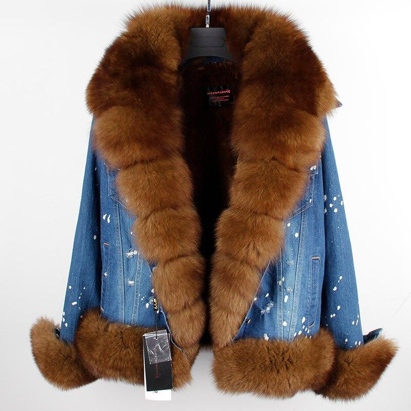 MaoMaoKong real fur women Short parka coat winter jacket real natural fox fur coat thick warm