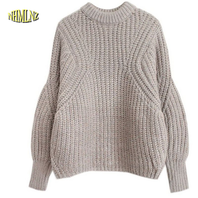 a666a86d19 Chinese New Fashion Women Winter Sweater Round Collar Bat sleeve Loose  Sweaters Big yards Thick Warm Wool Knitting Sweater G1924