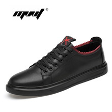 Купить с кэшбэком Genuine Leather Casual Shoes Sneakers Lightweight Elastic Resistant Men Shoes Lace-Up Breathable Soft Flats Shoes Men