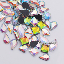 Clearance sale High Quality Crystal AB Fancy Stone Mix Sizes Shape Glass Hot fix Rhinestone For Wedding Decoration