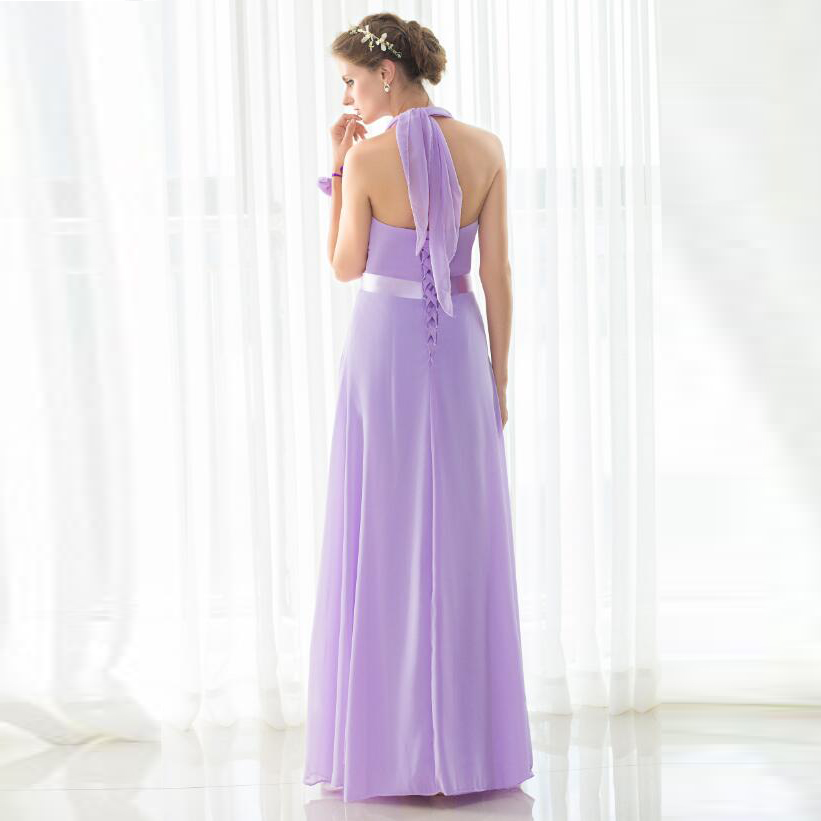 SHAMAI étage longueur licou robes de demoiselle d'honneur robe de mariée en Stock violet clair mousseline de soie à lacets nouvelles robes de demoiselle d'honneur - 6
