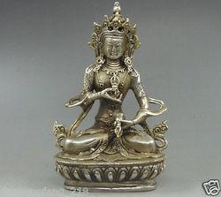 Collectible Decorated Old Tibet Silver Buddhism Vajrasattva Dorje Buddha Statue