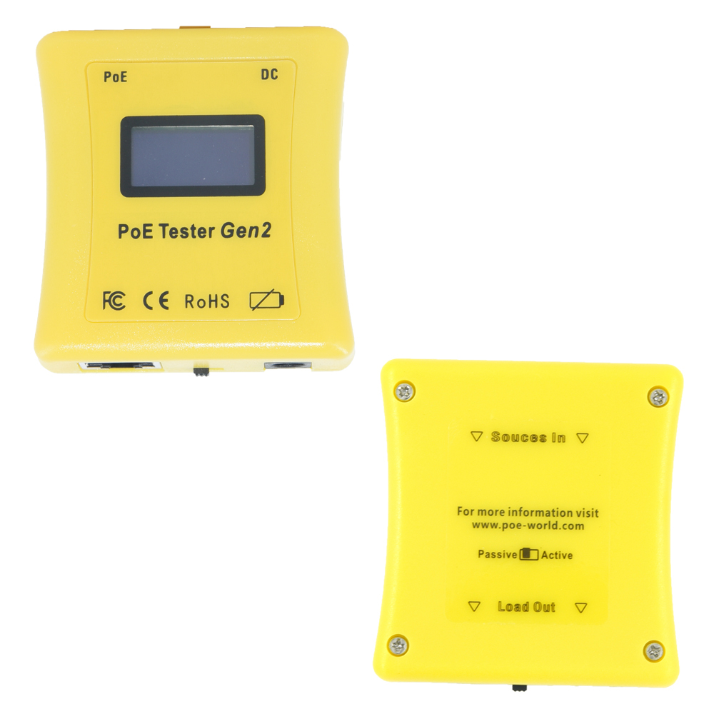 Identify PoE type PoE Tester display shows Volts, Amps and Watts for 802.3af/at, Passive PoE and DC Power supply + PoE Detector