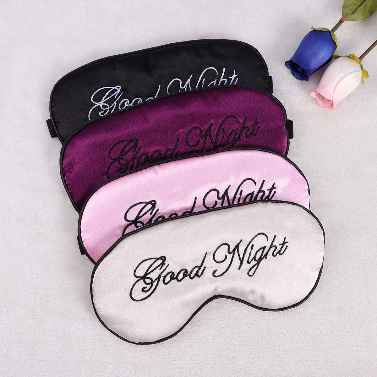 Silk Sleep Eye Mask Embroidery Eyeshade Large Blindfold Night Blinder for Men Women and Kids 4