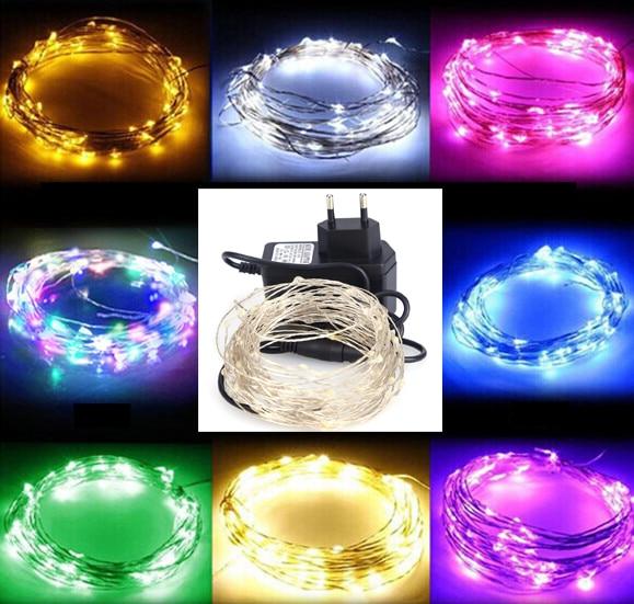 LED String Light 10m 100leds Silver Wire Fairy Lights med 12V 1A - Festlig belysning - Foto 1