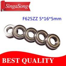 10PCS/LOT F625-2Z F625ZZ F625zz F625 zz Flanged Flange Deep Groove Ball Bearings 5 x 16 x 5mm for 3D printer
