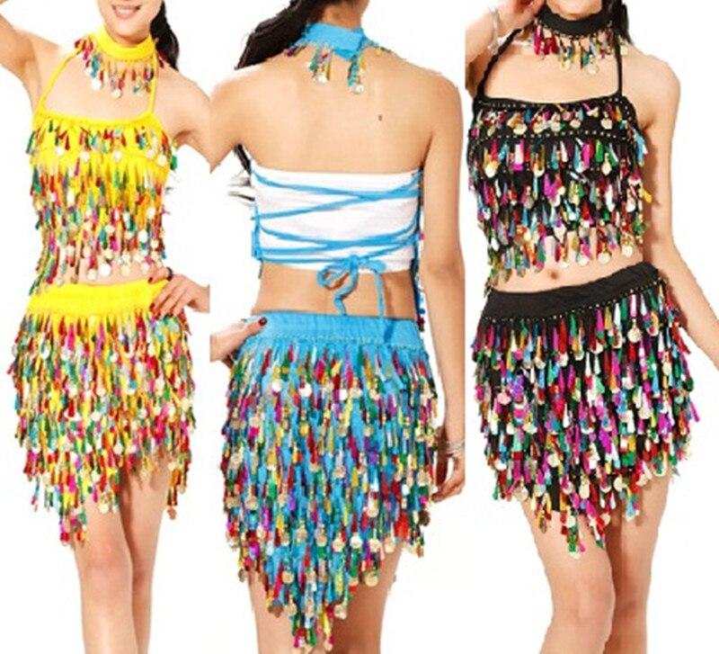 Nouveau style femme danse du ventre costume ensemble sexy lait soie top + jupe + collier 3 pièces/costume pour les femmes danse du ventre ensembles 6 types de couleurs