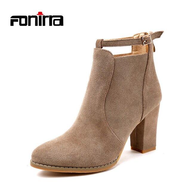Fonirra Новый Осенне-зимние женские ботильоны женские туфли на высоком каблуке женские замшевые Модные ботинки Martin Пряжка Сапоги и ботинки для девочек 702