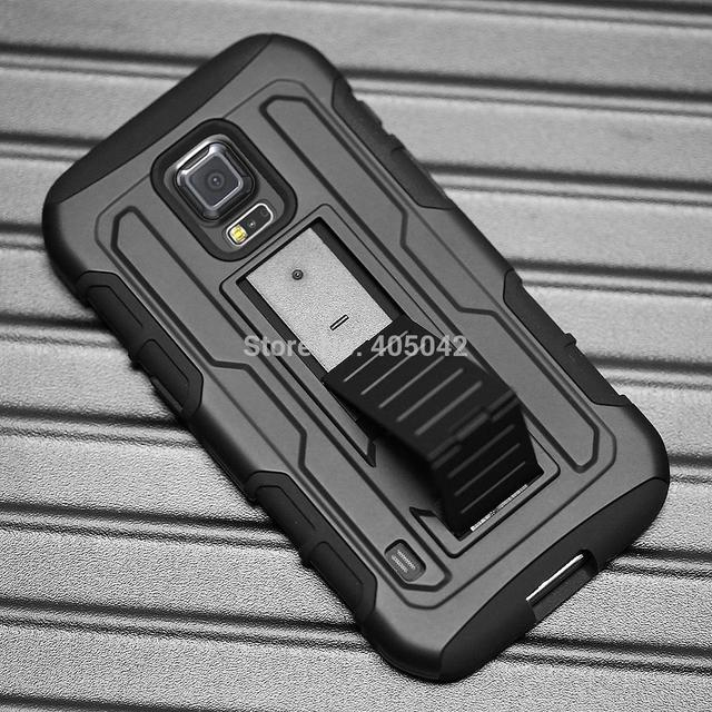 half off 8dd46 d2431 US $4.99 |For Samsung Galaxy S5 Active G870 Black Rugged Hybrid Protective  Armor Impact Hard Case Belt Clip Holster Stand Cover-in Holsters & Clips ...