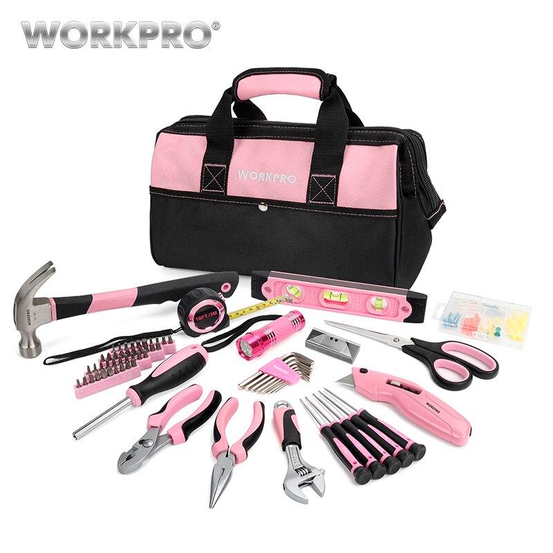 Workpro 75 pc conjunto de ferramentas para uso doméstico rosa prescision chave de fenda conjunto lanterna ferramenta saco