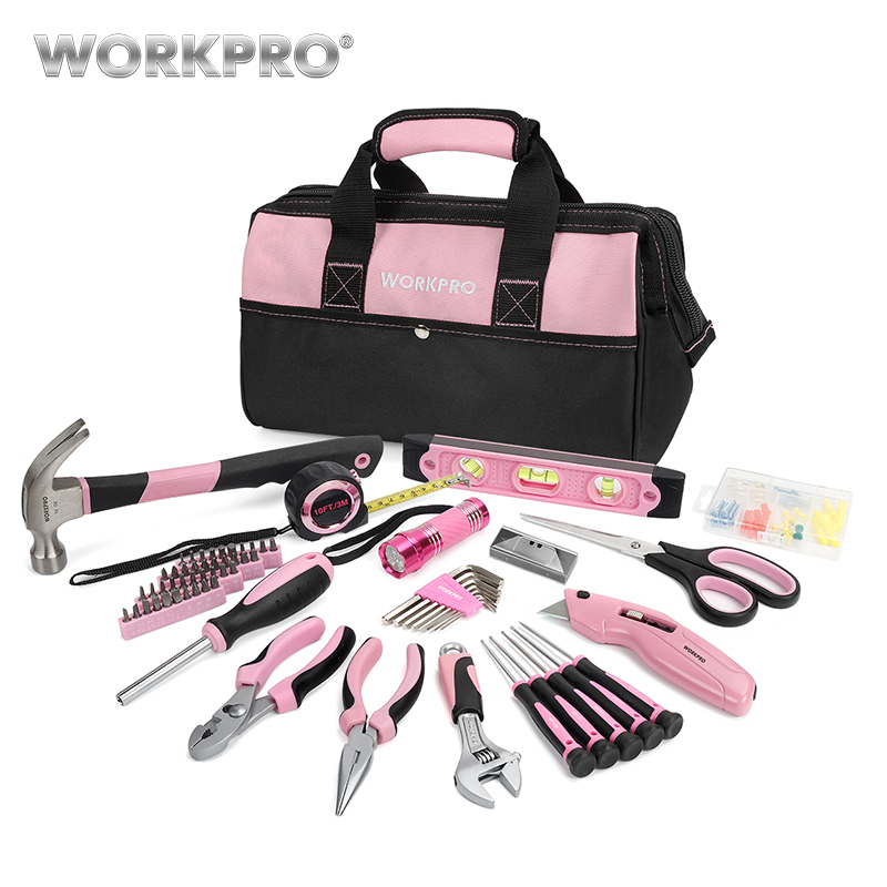 WORKPRO 75PC Household Tool Set Pink Home Tools Prescision Screwdriver Set Flashlight Tool Bag цена