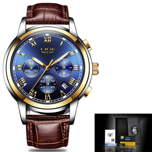 Image 2 - ליגע Mens שעונים למעלה מותג יוקרה גברים של עסקי אופנה עמיד למים קוורץ שעון לגברים מזדמן עור שעון Relogio Masculino