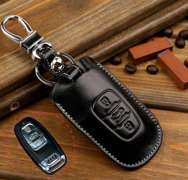 FOB cubierta de la llave titular de la clave de coche de Cuero cubierta de la caja dominante billetera bolsa para audi A4L A5 A7/Q5/S5/A6 Q7 L cáscara de la llave, envío gratis