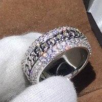 4 ряда Полный проложить 5A Цирконий Роскошные ювелирные изделия 925 серебро вращающийся цепи Для женщин обручальное кольцо для влюбленных под