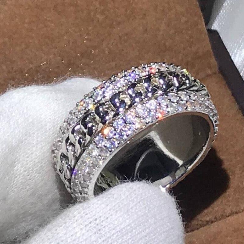 4 Rangées Complet Pave 5A Cubique Zircon Bijoux De Luxe 925 Sterling Argent Rotatif Chaîne Femmes Bague De Mariage pour les Amoureux cadeau