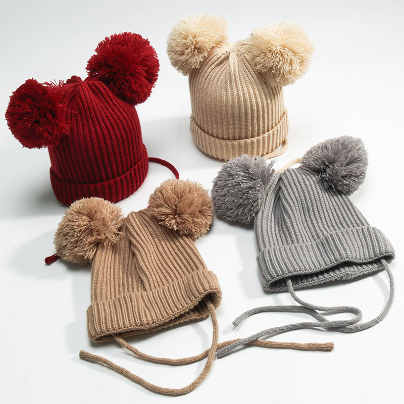 2017 Autumn Winter Children Double Hairball Knitting Wool Hats New Fashion Baby Thick Hat Boy Girl Caps Baby Beanies Accessories han edition spot qiu dong the day han2 ban3 girl gradient fashionable joker knitting wool hat