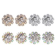 JAVRICK 1 Pair 10-Stones Round Cubic Zirconia Flower Shape Stud Earrings Trendy Jewelry Exquisite Earrings(China)