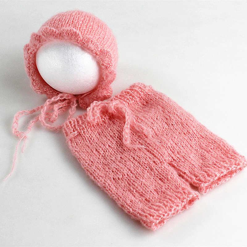 Miękkie moherowe noworodka fotografia rekwizyty kostiumy czapka/kapelusz + spodnie marszczone 2 sztuk zestaw dziecko dzianiny akcesoria fotograficzne strój Bebe