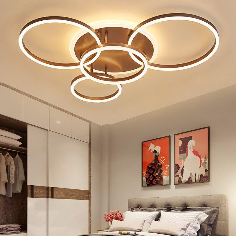 NEO Lueur 2/3/5/6 Cercle Anneaux Moderne LED plafonniers Pour Le salon Chambre Étude chambre Blanc/Brun Couleur plafond Lampe