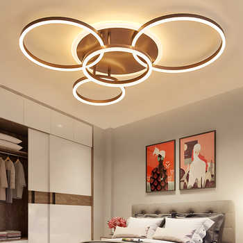 NEO Gleam 2/3/5/6 Circle Rings Modern led ceiling Lights For living Room Bedroom Study Room White/Brown Color ceiling Lamp - DISCOUNT ITEM  30% OFF All Category