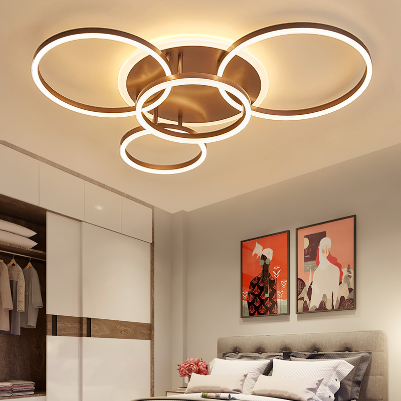 NEO Lueur 2/3/5/6 Cercle Anneaux plafond moderne à leds Lumières Pour salon Chambre Salle D'étude Blanc /brun Couleur plafonnier