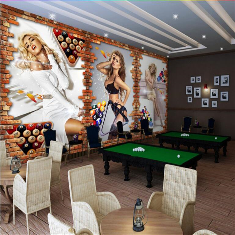 beibehang Large custom wallpapers <font><b>3D</b></font> stereo billiard hall billiard room <font><b>sexy</b></font> beauty brick <font><b>wall</b></font> background <font><b>wall</b></font> papel de parede image