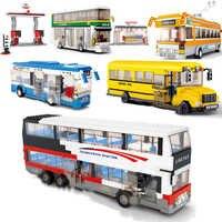Bus de ville Garage autobus scolaire fret Transport camion legos blocs de construction ensembles briques enfants jouets Marvel ville amis