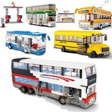 Conjuntos de blocos de construção de caminhão, cidade, ônibus, garagem, escola, transporte de carga, caminhão, crianças, brinquedos, marvel, amigos