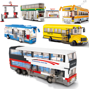 Image 1 - Conjuntos de blocos de construção de caminhão, cidade, ônibus, garagem, escola, transporte de carga, caminhão, crianças, brinquedos, marvel, amigos
