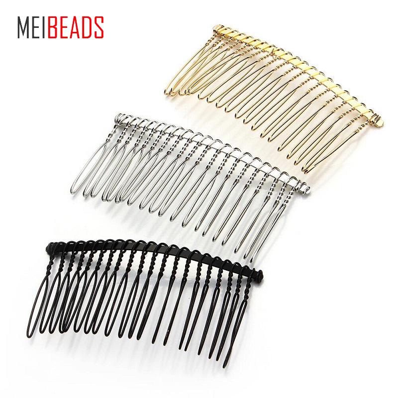 MEIBEADS 10pcs/lot DIY Hair Accessories Hair Supplies Steel Plate Inserted Comb Black Iron Silver 7.5 * 3.6cm 20 Teeth UF7559(China)