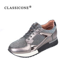 Silver lace up woman sneakers