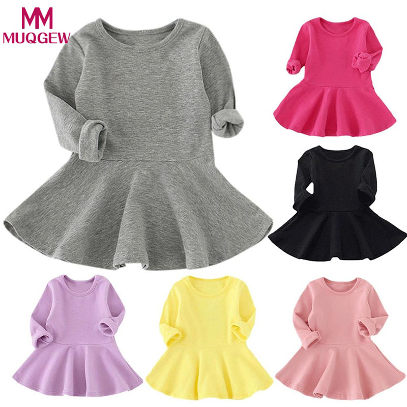 Spring Autumn Candy Color Cotton Baby Girl Dresses Long Sleeve Solid Princess Dress Bow-knot O-neck Toddler Kids Pleated Dresses Платье