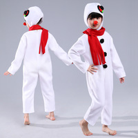 2018 Children Snowman Costume Halloween Christmas Cosplay Performance Play Snowman Styling Clothes For Boys Girls White Jumpsuit