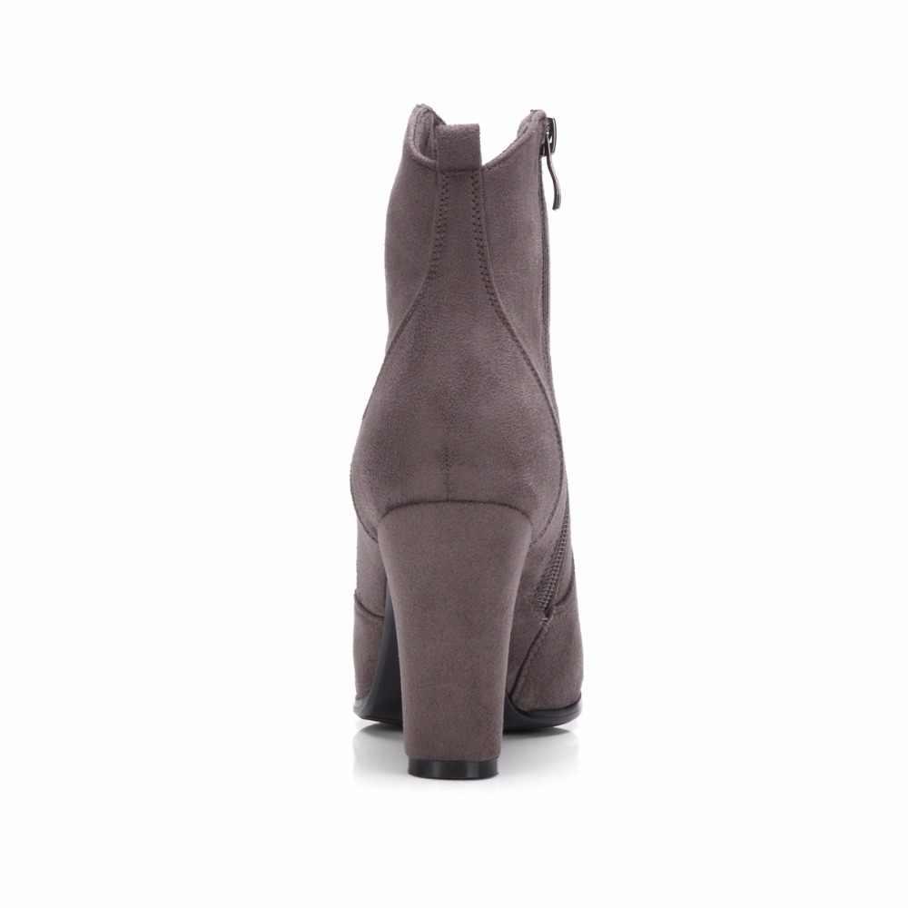 WETKISS 2019 Yeni Varış Bayanlar yarım çizmeler Kadın Akın Yan Fermuar Yüksek Topuklu Çizme Kadın Yuvarlak ayak Sonbahar Çizmeler Büyük Boy 34-43