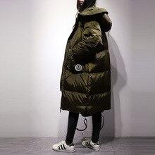 Корейский новый зимний с капюшоном свободные в X-длинный пуховик до колен Большие размеры сплошной цвет куртки женские пальто прилив парки MZ1064