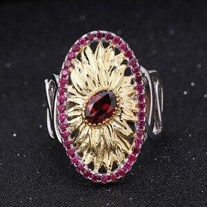 Image 2 - GEMS BALLET 1.00Ct Natural Rhodolite Garnet Sunflower Rings 925 Sterling Silver Handmade Ring for Women Bijoux Fine Jewelry