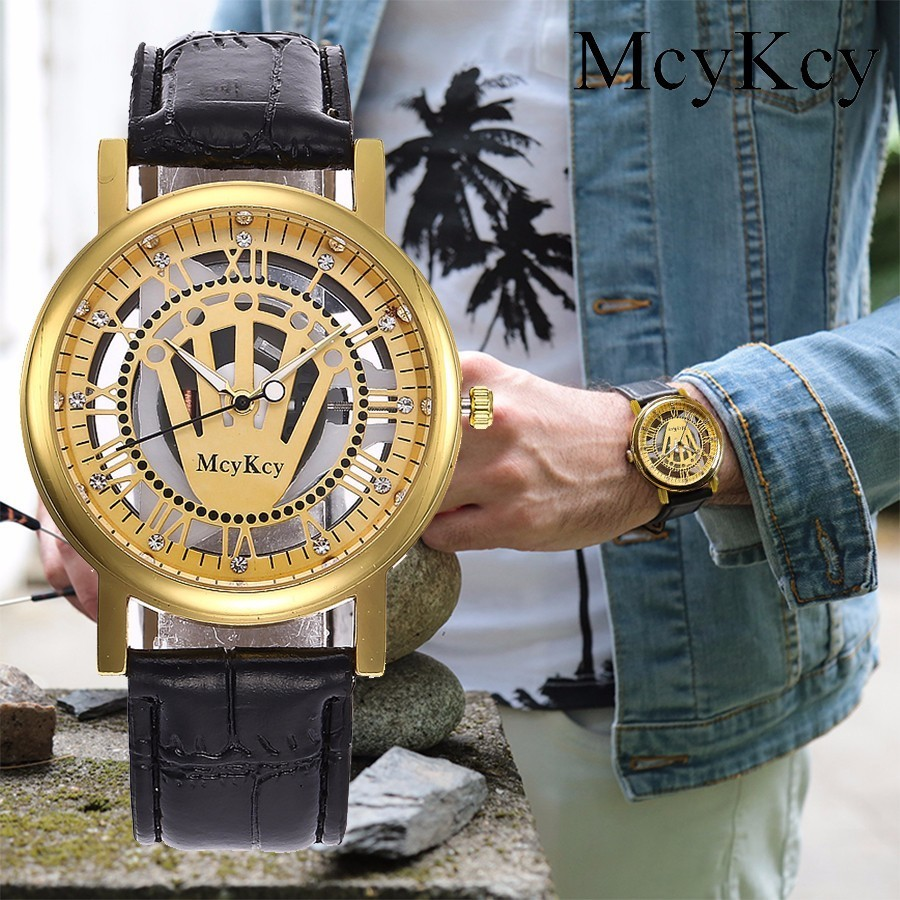 McyKcy Gold & Silver Hollow Crown Designer Wristwatches Fashion Casual Mens Skeleton Quartz Watches Gift Relogio Masculino