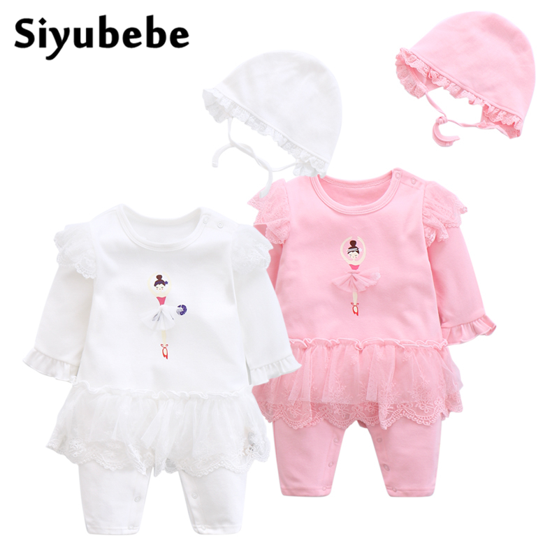 Newborn Cute Ballet Girl Cotton Baby Girl Rompers Infant Lace Romper + Hat Children Clothes Sets Long Sleeve Toddler Jumpsuit cotton cute red lips print newborn infant baby boys clothing spring long sleeve romper jumpsuit baby rompers clothes outfits set