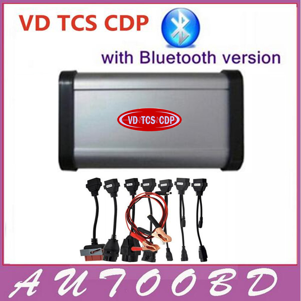 100% Quality A++2014.02 R2 New vci CDP with Bluetooth SCANNER VD TCS CDP pro plus with LED OBDII/EOBD 3in1+ Full Set 8 Car Cable multi language professional diagnostic scanner same function as tcs cdp plus scanner multidiag pro tf card bluetooth v2015 3